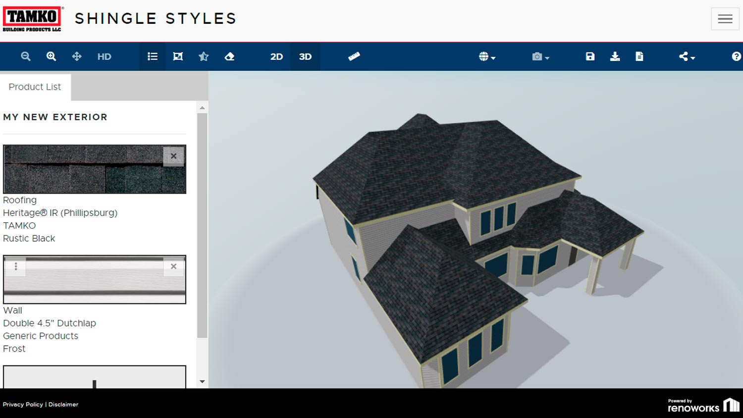 TAMKO Shingle Styles - Renoworks Visualizer (3D rendering)