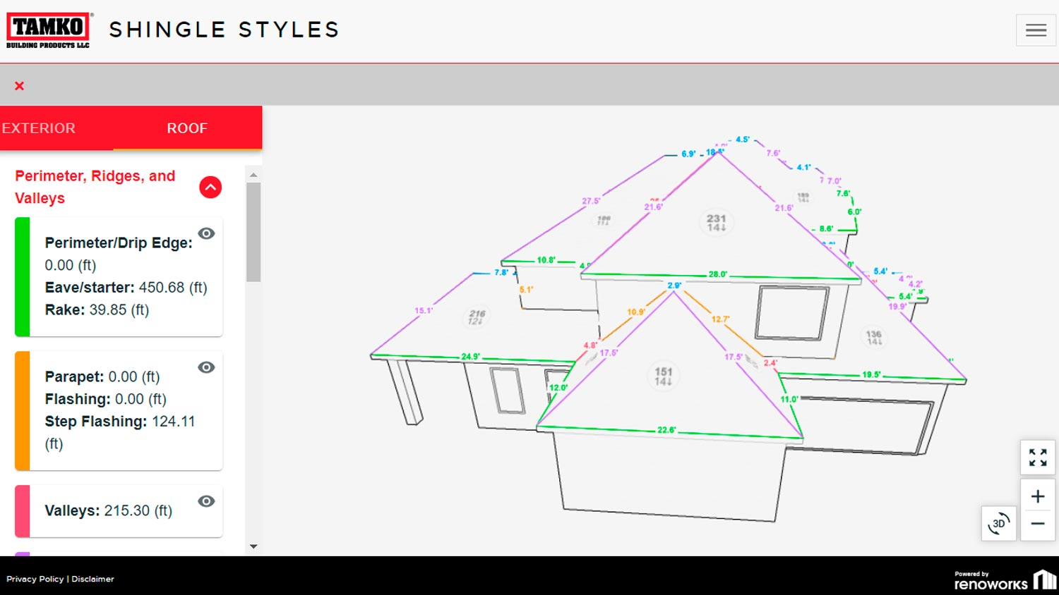 TAMKO Shingle Styles - Renoworks Visualizer (measurements)