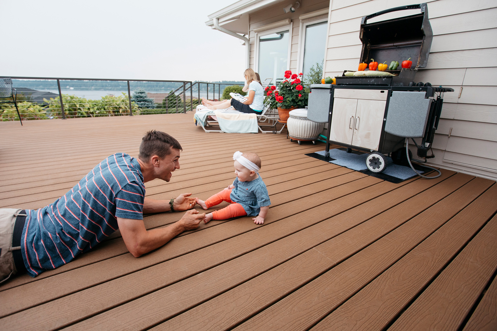 J Katwijk and family on EverGrain deck he built