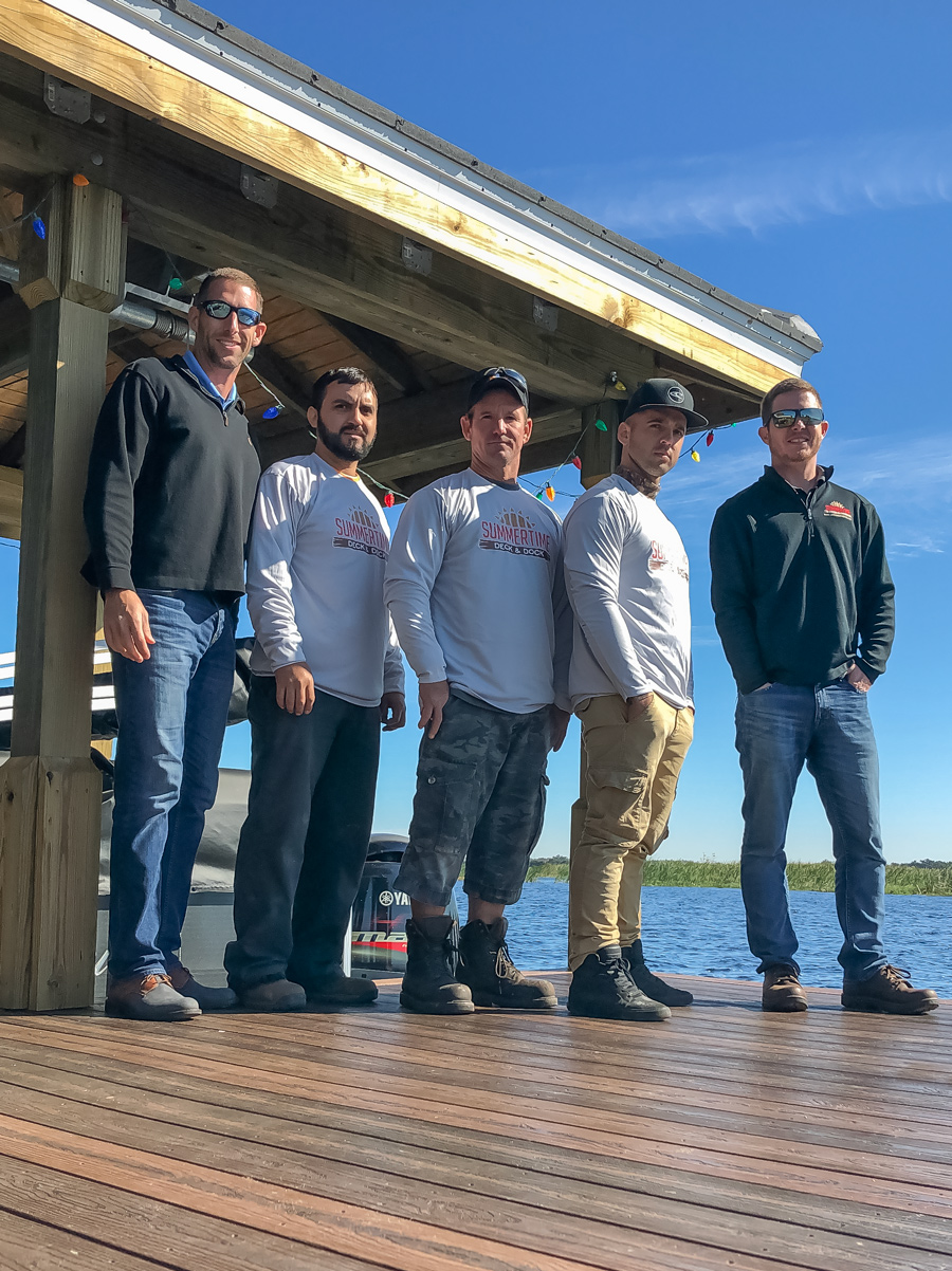 Robin Lopez with his crew Gabriel Rios, Horacio Lara, Adrian Valdes, and Matt Langbehn on an Envision dock they built