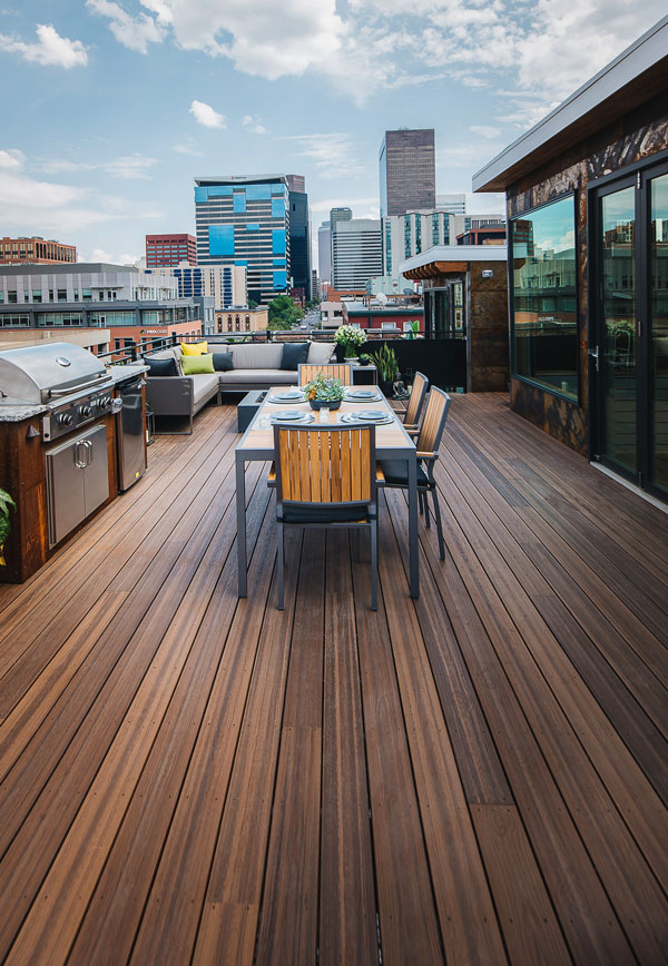 TAMKO Envision Decking - Rooftop Deck View of the City