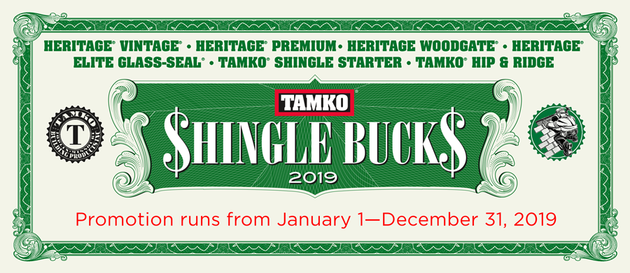 TAMKO Shingle Bucks 2019