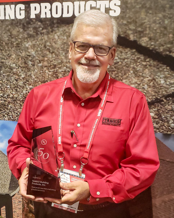 TAMKO Vice President of Sales & Marketing Stephen McNally receives UL Award for 50-years Dedication to Safety (thumb)