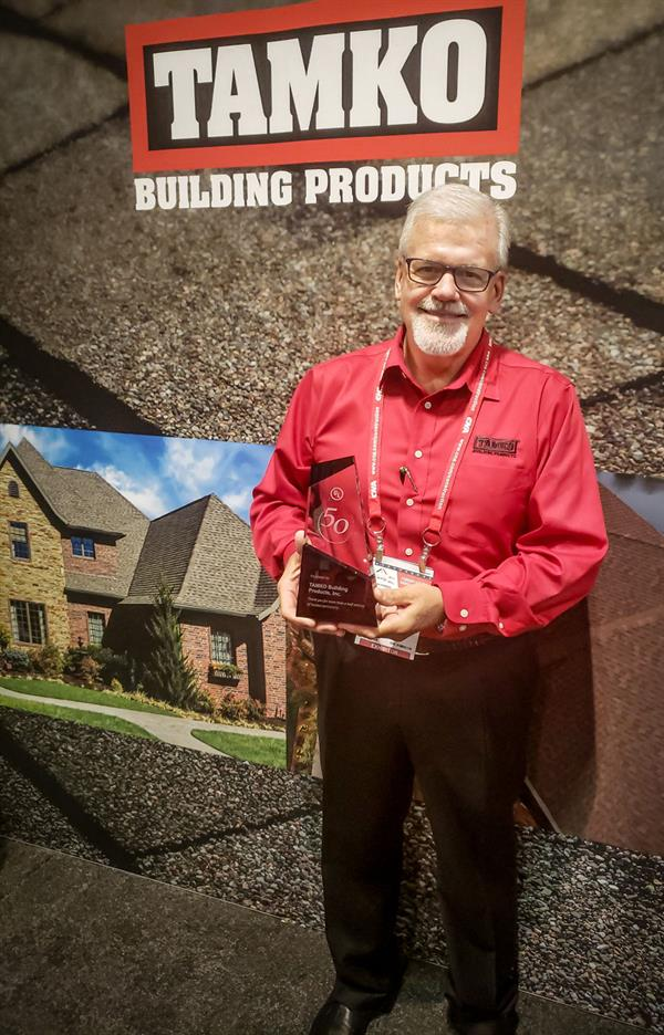 TAMKO Vice President of Sales & Marketing Stephen McNally receives UL Award for 50-years Dedication to Safety